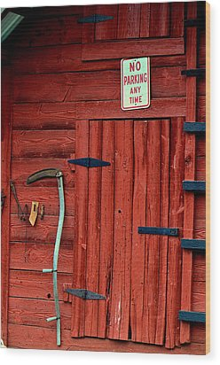 Red Barn Door 003 Wood Print by George Bostian