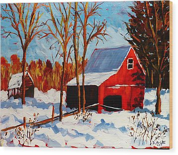 Red Barn First Snow Wood Print
