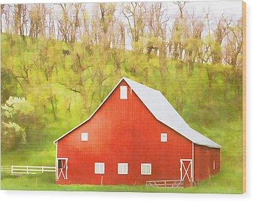 Red Barn Green Hillside Wood Print by Carol Leigh
