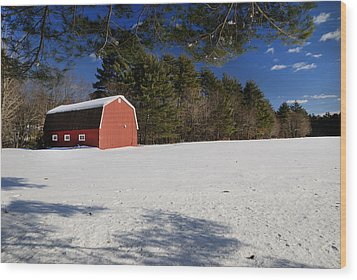 Red Barn In Hollis Wood Print by Lee Fortier