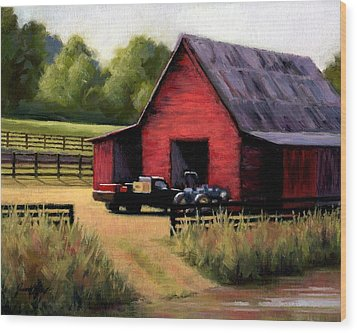 Red Barn In Leiper's Fork Tennessee Wood Print by Janet King