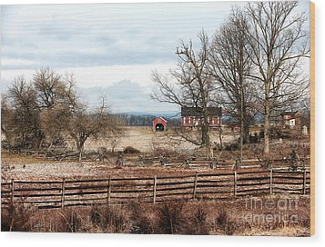 Red Barn In The Field Wood Print by John Rizzuto