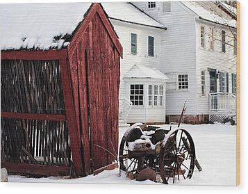 Red Barn In Winter Wood Print by John Rizzuto
