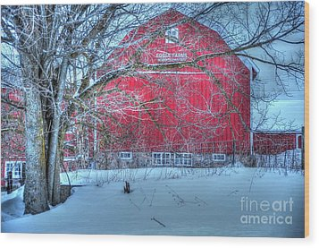 Red Barn In Winter Wood Print by Terri Gostola