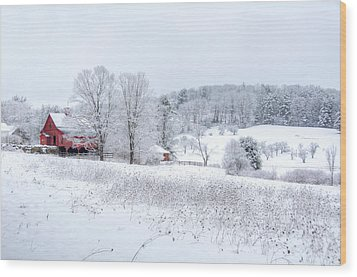Red Barn In Winter Wonderland Wood Print by Donna Doherty