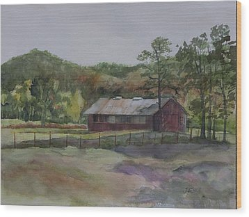 Red Barn Wood Print by Janet Felts