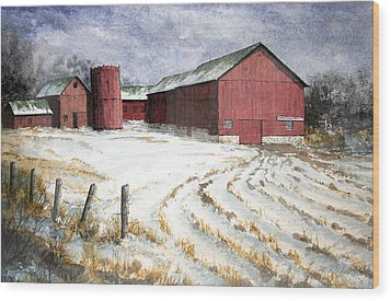Wood Print featuring the painting Red Barn On Rt. 49 by Roger Rockefeller