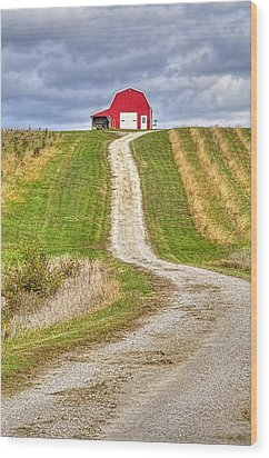 Red Barn On The Hill Wood Print