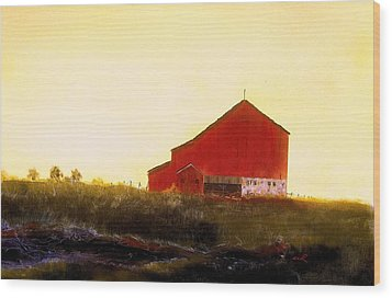 Red Barn On The Rocks Wood Print by William Renzulli