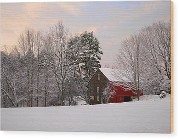 Wood Print featuring the photograph Red Barn Sunrise by Larry Landolfi
