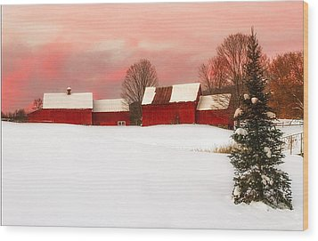 Red Barn Sunset Wood Print by John Vose