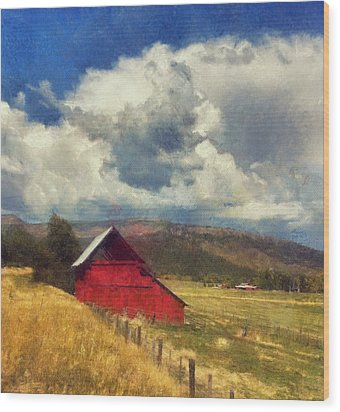 Red Barn Under Cloudy Blue Sky In Colorado Wood Print