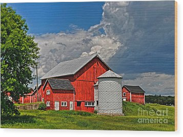 Red Barn White Silo Wood Print