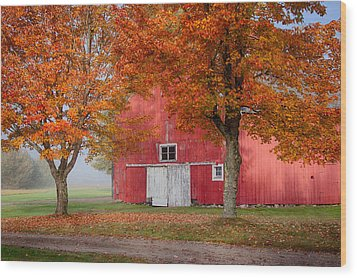 Wood Print featuring the photograph Red Barn With White Barn Door by Jeff Folger