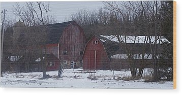 Red Barns Wood Print by Kristine Bogdanovich