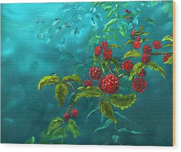 Red Berries In Blue Green Painting Wood Print by Lenora  De Lude