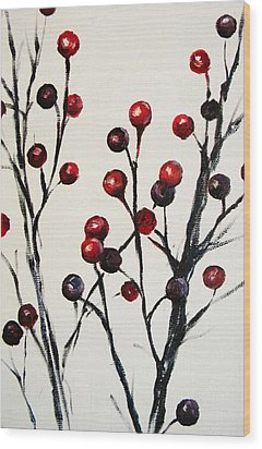 Red Berry Study Wood Print by Rebekah Reed
