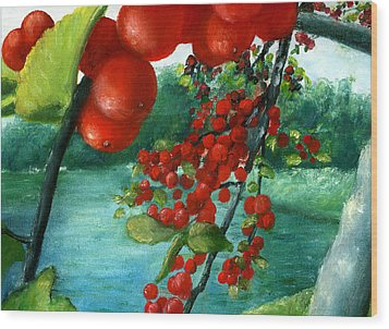 Wood Print featuring the painting Red Berry Tree On Louisiana Pond by Lenora  De Lude