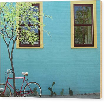 Red Bicycle Wood Print