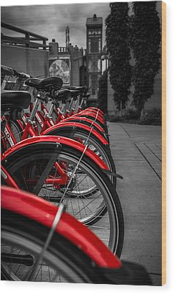 Red Bicycles Wood Print