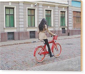 Red Bike Wood Print by Gene Mark