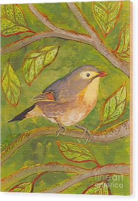 Red-billed Leiothrix Wood Print by Anna Skaradzinska