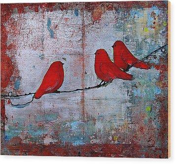 Red Birds Let It Be Wood Print by Blenda Studio