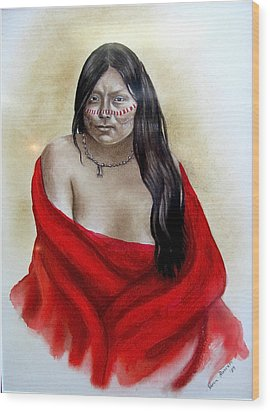 Red Blanket Wood Print by Karen Roncari