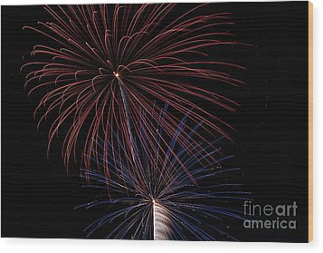 Red Blue Fireworks Wood Print by Jason Meyer