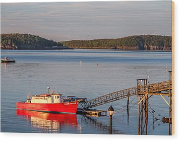 Wood Print featuring the photograph Red Boat Bar Harbor Me by Trace Kittrell