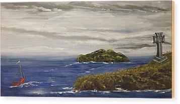 Wood Print featuring the painting Red Boat In The Celtic Sea by Susan Culver