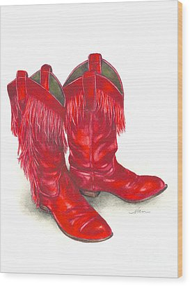 Red Boots Wood Print by Nan Wright