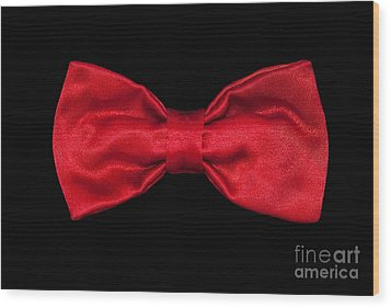 Red Bow Tie Wood Print by Dan Holm