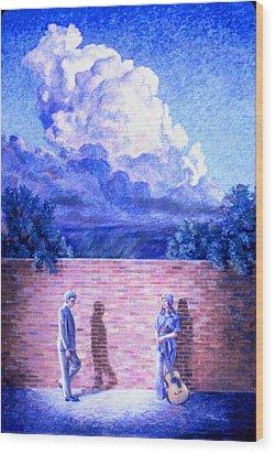 Red Brick Wall Wood Print by Dan Terry