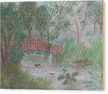 Red Bridge At Wollongong Botanical Gardens Wood Print by Pamela  Meredith