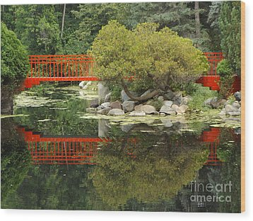 Red Bridge Close Reflection Wood Print