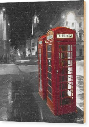 Red British Phone Box On The Streets Of Edinburgh Wood Print by Mark E Tisdale