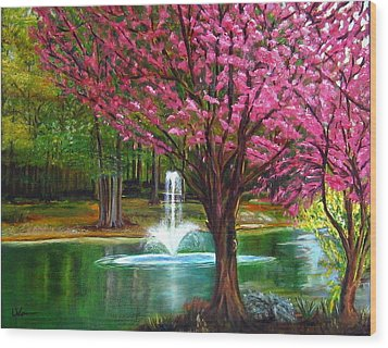 Wood Print featuring the painting Red Bud Tree by LaVonne Hand