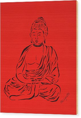 Red Buddha Wood Print by Pamela Allegretto