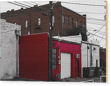 Red Building Wood Print by Nathan Hillis