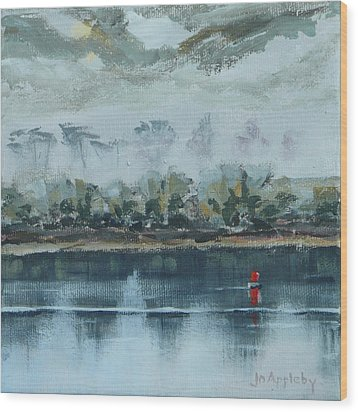 Wood Print featuring the painting Red Buoy by Jo Appleby