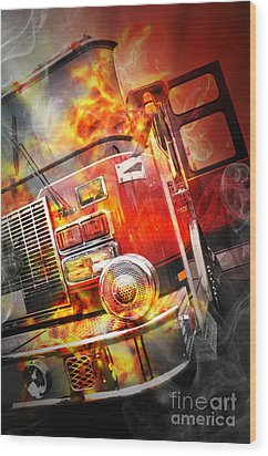 Red Burning Fire Rescue Truck With Flames Wood Print by Angela Waye