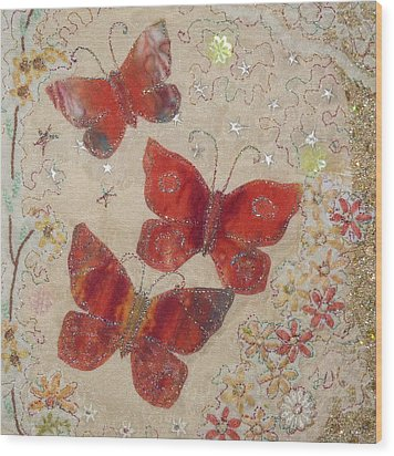 Red Butterflies Wood Print by Hazel Millington