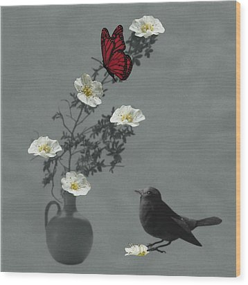 Red Butterfly In The Eyes Of The Blackbird Wood Print