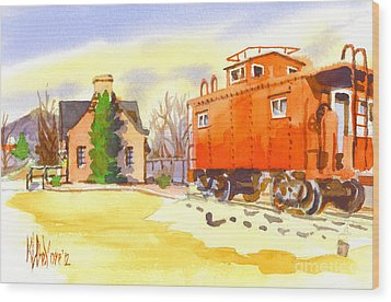 Red Caboose At Whistle Junction Ironton Missouri Wood Print