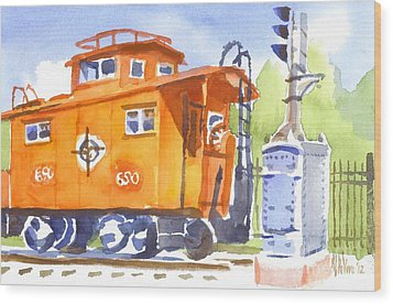 Red Caboose With Signal  Wood Print by Kip DeVore