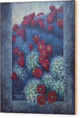 Wood Print featuring the painting Red Cactus by Rob Corsetti