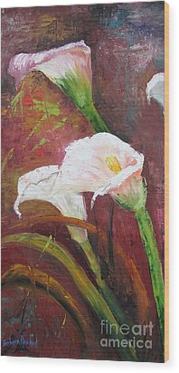 Red Calla Lilies Wood Print