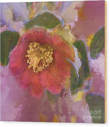 Red Camelia In A Winter Coat Wood Print by Terry Rowe