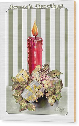 Wood Print featuring the digital art Red Candle by Arline Wagner